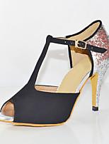 Недорогие -Жен. Обувь для латины Сатин На каблуках Кубинский каблук Персонализируемая Танцевальная обувь Черный