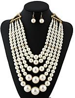 Недорогие -Жен. европейский / Мода / Многослойный ожерелья Искусственный жемчуг