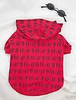 Недорогие -Собаки Комбинезоны Одежда для собак В полоску Слова / выражения Красный Хлопок Костюм Назначение Осень Универсальные модный Мода