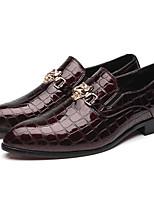 Недорогие -Муж. Официальная обувь Под крокодила Весна & осень Английский Мокасины и Свитер Черный / Красный / Синий / Для вечеринки / ужина