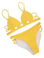 Недорогие -Жен. На бретелях Черный Розовый Желтый Смелые Танкини Купальники - Однотонный M L XL Черный / Супер секси