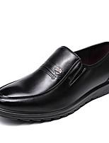 Недорогие -Муж. Комфортная обувь Наппа Leather Весна Мокасины и Свитер Черный