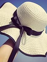 Недорогие -Жен. Праздник Соломенная шляпа - Бант Контрастных цветов