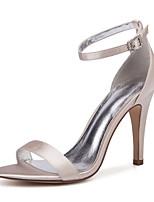 cheap -Women's Wedding Shoes High Heel Open Toe Wedding Party & Evening Satin Rhinestone Solid Colored White Black Purple