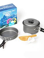 Недорогие -Походная кастрюля и сковорода Ложка Пот & Pan 7pcs Легкость С защитой от ветра Дожденепроницаемый Твердый алюминий на открытом воздухе за Рыбалка Походы Серый
