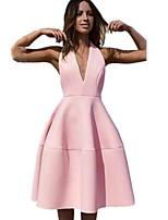 Недорогие -Жен. Оболочка Платье - Однотонный Глубокий V-образный вырез Средней длины
