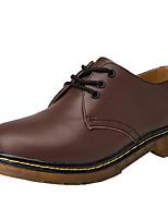Недорогие -Муж. Кожаные ботинки Кожа Весна лето Кеды Для прогулок Ботинки Черный / Коричневый / Винный / Квадратный носок