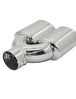 Недорогие -универсальная хромированная нержавеющая сталь выхлопной трубы автомобиля двойной наконечник выхлопной трубы 60 мм