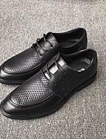 Недорогие -Муж. Комфортная обувь Наппа Leather Весна Туфли на шнуровке Черный