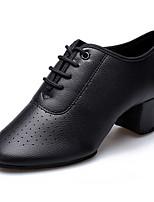Недорогие -Жен. Обувь для модерна Кожа На каблуках Толстая каблук Танцевальная обувь Белый / Черный / Красный