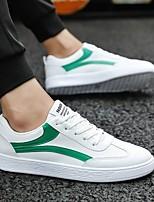 Недорогие -Муж. Комфортная обувь Полиуретан Весна Кеды Черно-белый / Белое / серебро / Wit En Groen