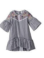 Недорогие -Дети Девочки Винтаж Повседневные Однотонный Вышивка С короткими рукавами Средней длины Хлопок Платье Белый