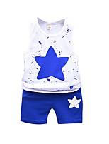 Недорогие -малыш Мальчики Классический Повседневные Синий и белый Жаккард Без рукавов Обычный Обычная Хлопок Набор одежды Синий