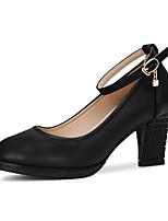 Недорогие -Жен. Обувь для модерна Кожа На каблуках Толстая каблук Танцевальная обувь Черный / Серебряный / Красный