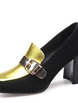 Недорогие -Жен. Наппа Leather Весна Классика / На каждый день Обувь на каблуках На толстом каблуке Квадратный носок Пряжки Золотой / Контрастных цветов