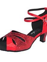 Недорогие -Жен. Обувь для латины Сатин Сандалии Лак Кубинский каблук Танцевальная обувь Красный / Синий