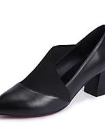 Недорогие -Жен. Наппа Leather Лето Минимализм Обувь на каблуках Блочная пятка Заостренный носок Черный / Бежевый