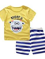 Недорогие -малыш Мальчики Классический Повседневные Синий и белый Жаккард С короткими рукавами Короткий Короткая Хлопок Набор одежды Желтый