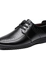 Недорогие -Муж. Комфортная обувь Микроволокно Лето Туфли на шнуровке Черный / Темно-коричневый