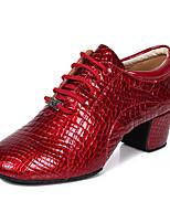 Недорогие -Жен. Обувь для модерна Кожа На каблуках Толстая каблук Танцевальная обувь Черный / Красный