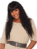 Недорогие -человеческие волосы Remy Лента спереди Парик стиль Бразильские волосы Крупные кудри Черный Парик 180% Плотность волос Без запаха Гладкие Женский Лучшее качество Толстые Черный Жен. Средняя длина
