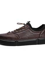 Недорогие -Муж. Комфортная обувь Микроволокно Весна & осень Кеды Черный / Коричневый / Хаки