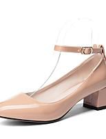 Недорогие -Жен. Искусственная кожа Весна лето Обувь на каблуках На толстом каблуке Круглый носок Красный / Розовый / Миндальный