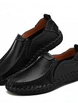 Недорогие -Муж. Комфортная обувь Кожа Весна & осень Мокасины и Свитер Черный / Винный / Темно-русый