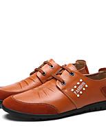 Недорогие -Муж. Комфортная обувь Наппа Leather Весна Туфли на шнуровке Черный / Коричневый / Синий