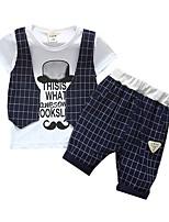 Недорогие -малыш Мальчики Классический Повседневные С принтом С короткими рукавами Обычный Обычная Хлопок Набор одежды Темно синий