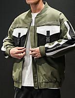 Недорогие -Муж. Повседневные Уличный стиль Обычная Куртка, Контрастных цветов V-образный вырез Длинный рукав Полиэстер Черный / Военно-зеленный XXXL / XXXXL / XXXXXL