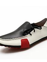 Недорогие -Муж. Кожаные ботинки Кожа Весна лето На каждый день / Английский Мокасины и Свитер Нескользкий Серый / Коричневый / Черно-белый