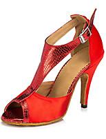 Недорогие -Жен. Обувь для латины Сатин На каблуках Кубинский каблук Персонализируемая Танцевальная обувь Лиловый / Красный / Телесный