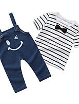 Недорогие -малыш Мальчики Классический Повседневные Полоски С короткими рукавами Обычный Хлопок Набор одежды Белый