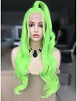 Недорогие -Синтетические кружевные передние парики Естественные кудри Зеленый Стрижка каскад флуоресцентный зеленый 130% Человека Плотность волос Искусственные волосы 24 дюймовый Жен. Женский Зеленый Парик