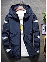 Недорогие -Муж. Повседневные Классический Осень Обычная Куртка, Однотонный / Геометрический принт Капюшон Длинный рукав Полиэстер Темно синий / Серый / Светло-синий XXXXL / XXXXXL / XXXXXXL