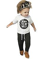 Недорогие -малыш Мальчики Активный / Классический Повседневные С принтом С принтом Длинный рукав Обычный Обычная Хлопок Набор одежды Белый