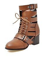 cheap -Women's Boots Chunky Heel Round Toe Buckle PU Booties / Ankle Boots Vintage / Minimalism Spring &  Fall Brown / Black