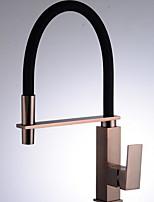 Недорогие -кухонный смеситель - Одной ручкой одно отверстие Матовый никель Высокий / High Arc Обычные Kitchen Taps