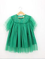 Недорогие -Дети (1-4 лет) Девочки Милая / Симпатичные Стиль Однотонный Кружева С короткими рукавами Платье Зеленый
