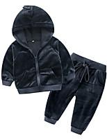 Недорогие -малыш Мальчики Классический Повседневные Однотонный Длинный рукав Обычный Полиэстер Набор одежды Темно-серый