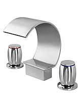 Недорогие -Смеситель для ванны / Ванная раковина кран - Современный / Обычные Хром Разбросанная Медный клапан Bath Shower Mixer Taps