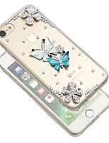 Недорогие -Кейс для Назначение Apple iPhone XR / iPhone XS Max Стразы / Прозрачный / Своими руками Кейс на заднюю панель Бабочка Мягкий ТПУ для iPhone XS / iPhone XR / iPhone XS Max