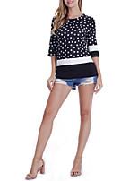 Недорогие -женская футболка азиатского размера - цвет блока / горошек вокруг шеи