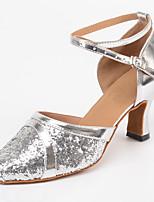 Недорогие -Жен. Обувь для модерна Сатин На каблуках Кубинский каблук Персонализируемая Танцевальная обувь Серебряный