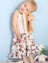 Недорогие -малыш Девочки На каждый день Повседневные Цветочный принт С принтом Без рукавов Обычный Полиэстер / Телячья кожа Набор одежды Белый