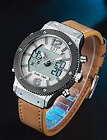 Недорогие -ASJ Муж. Спортивные часы электронные часы Японский Японский кварц Натуральная кожа Черный / Коричневый 100 m Будильник Повседневные часы Аналого-цифровые На каждый день Мода - Черный Коричневый