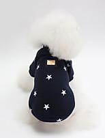 Недорогие -Собаки Плащи Толстовка Одежда для собак Звезды Темно-синий Розовый Хлопок Костюм Назначение Осень Зима Наколенники Симпатичные Стиль
