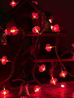 Недорогие -3M Гирлянды 20 светодиоды Красный Декоративная Аккумуляторы AA 1 комплект