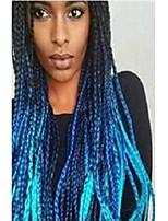 Недорогие -Синтетические кружевные передние парики / Дреды / Faux Locs Жен. переплетенный Черный Стрижка каскад / тесьма 130% Человека Плотность волос Искусственные волосы 24 дюймовый / Синий / Лента спереди